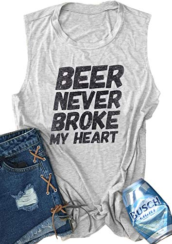 Koimcuiy Women's Tank Tops for Women Beer Never Broke My Heart Tank Tops Sleeveless Sirts for Women (S, Grey) (Best Friend Broke My Heart)