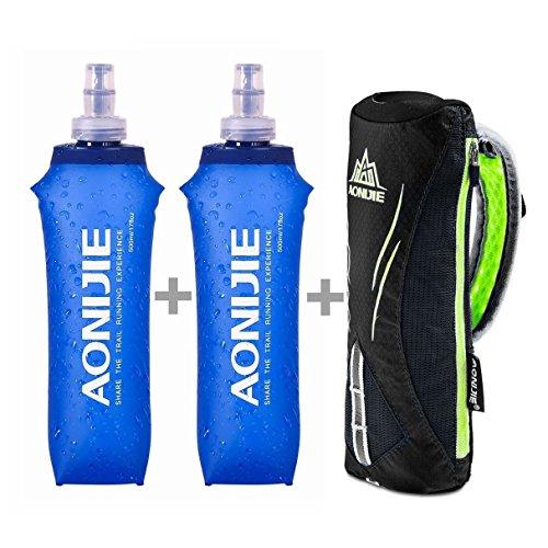 LERMX Quick Grip Chill 17 oz Handheld Soft Water Bottle Hydration Pack (17 oz Black+Two Bottle)