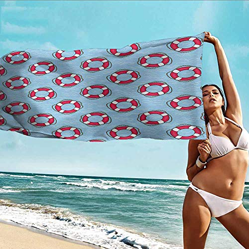 - HHDSG Beach Chair Towel,Buoy Pattern with Lifebuoys Floating in Ocean Swimming Urgency SOS Protection,Hotel & Spa Bath Towel,W63x31L Pale Blue Pink White
