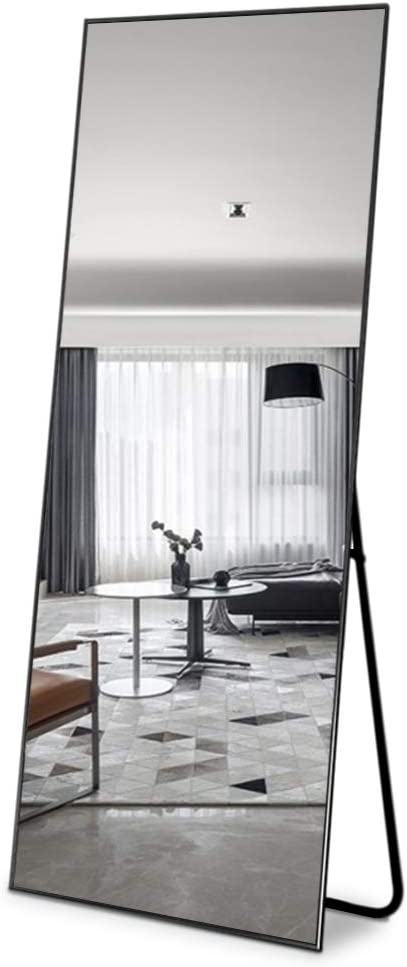 LifeFair Black Framed Full Length Mirror 65x22 Big Standing Mirror for Bedroom Standing Hanging or Leaning Againt Wall Large Framed Mirror Aluminum Alloy Thin Frame Floor Mirror