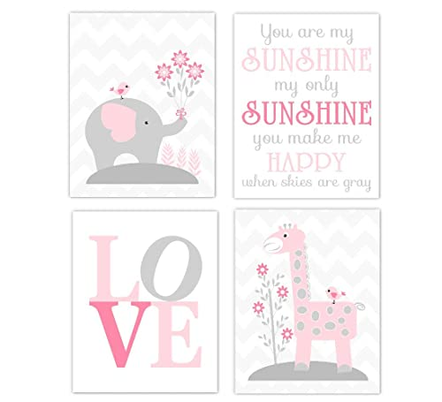 Luxury pink and gray chevron elephant baby gift 5 piece elephant baby shower gift pink and gray elephant love