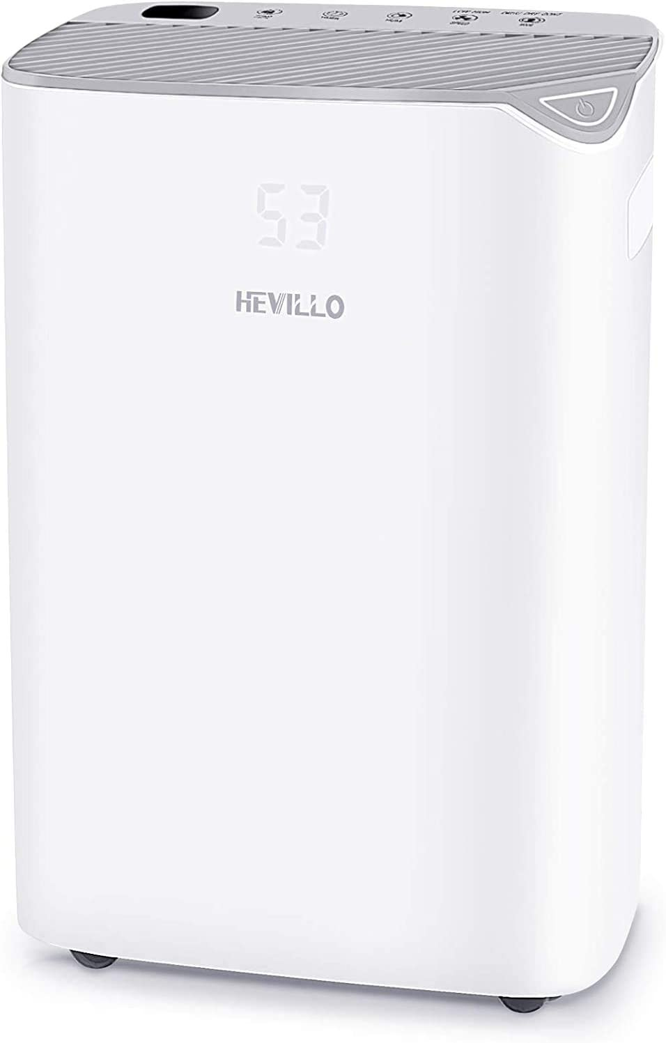 HEVILLO 2000 Sq. Ft Dehumidifier for Home Basements Bedroom Garage, with Continuous Drain Hose and Wheel, 0.66 Gallon Water Tank Capacity, Intelligent Humidity Control (Gray)