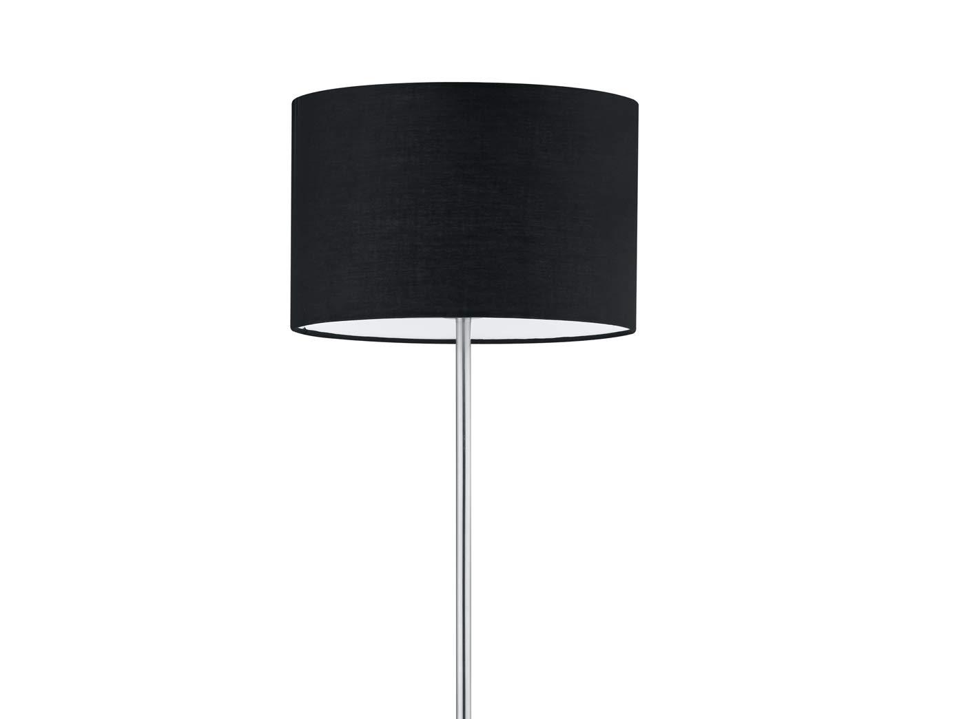 Classica lampada a stelo con paralume in tessuto nero /Ø 35 cm altezza 160 cm nichel opaco con lampadina LED E27 elegante e senza tempo
