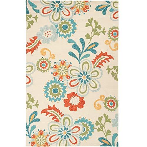 (Tiwari Home 6' x 9' Funky Farm Flowers Red and Cream Rectangular Area Rug)