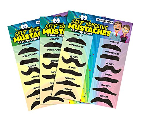 [Allures & Illusions Fake Mustaches - 36 Costume and Party Mustaches] (Fake Mustache Kit)
