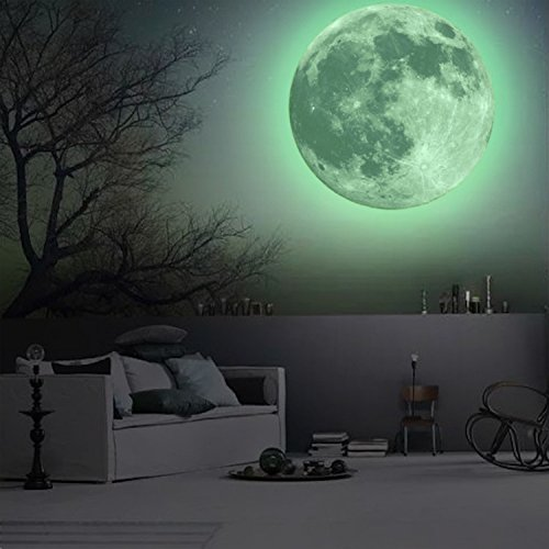 CaseFan 50cm Glow in Dark Full Moon Light Luminous Wall Stickers Vinyl Removable Art Mural Wallpaper DIY Decals(19.7x19.7 Inches) for Kid Baby Nursery,Classic Green
