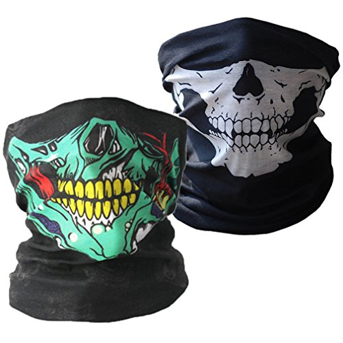 ToBe-U Seamless Multi Function Half Face Skull Tube Mask for Halloween, 2 pieces  -