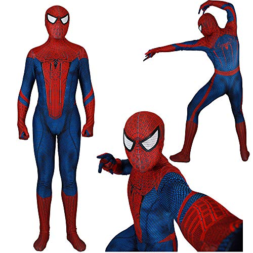 Unisex Lycra Spandex Zentai HalloweenThe Amazing Cosplay Costumes Suit Adult/Kids 3D Style (Adults-S Red Blue