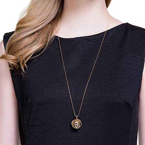 Udecoroption Pendant Necklace, 14k Gold Plated 925 Sterling Silver Globe Pendant Necklace for Casual Tops, Tunic or Maxi Dresses - Gold Plated Globe