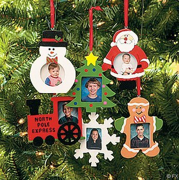 Amazon.com - Wooden Photo Frame Christmas Ornaments - box of 12 ...