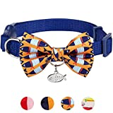 Blueberry Pet 18 Designs Timeless Navy Blue Breakaway Adjustable Chic Fish Print Handmade Bow Tie Cat Collar with European Crystal Bead on Fish Charm, Neck 9''-13'', Bow 2.4'' 2''