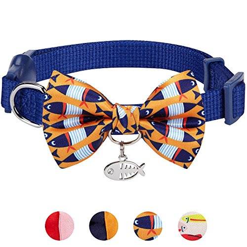 Blueberry Pet 15 Designs Timeless Navy Blue Breakaway Adjustable Chic Fish Print Handmade Bow Tie Cat Collar with European Crystal Bead on Fish Charm, Neck 9