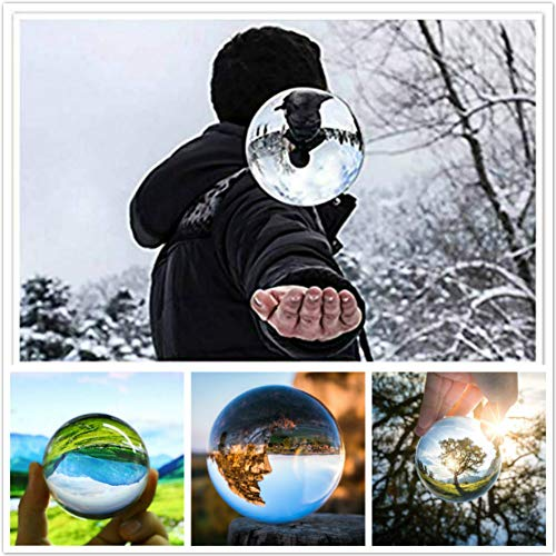 SunAngel Photography Crystal Ball Photography Globe Photography Glass Ball Photography Lensball for Divination or Wedding/Home/Photography or Office Decoration (80MM with Crystal Stand, ()