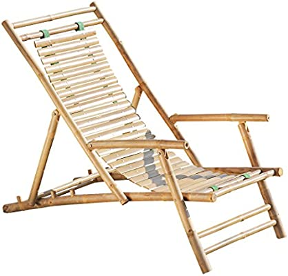 Amazon.com : Whole House Worlds The Key West Classic Sling Lounge Chair,  Natural Bamboo With Slats And Canvas, Tortoise Shell Finish, 4 Adjustable  Positions ...