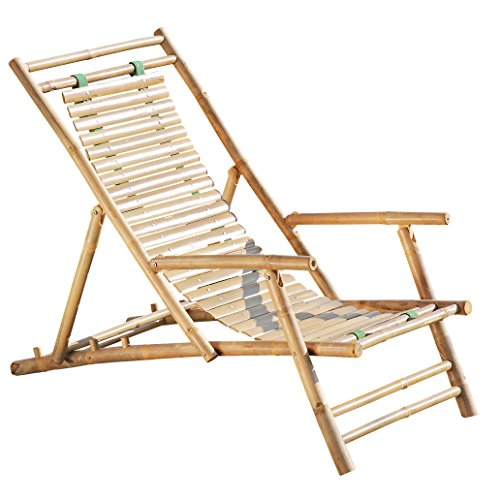 Whole House Worlds The Key West Classic Sling Lounge Chair, Natural Bamboo with Slats and Canvas, Tortoise Shell Finish, 4 Adjustable Positions, Fold-Away, 46 1/2 D, By - Sling Adjustable Lounge Chair