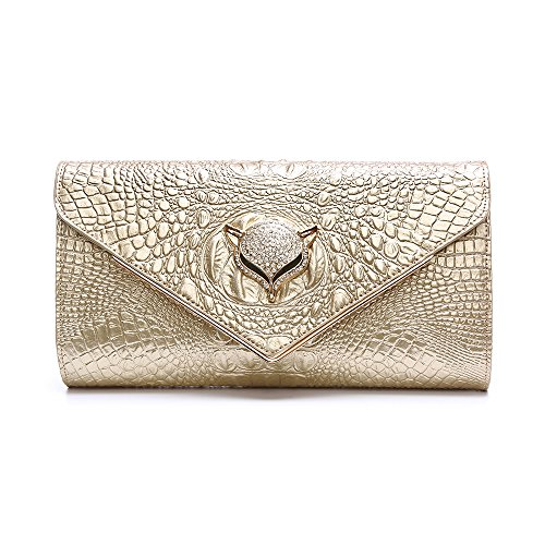 Bags Clutches Gold Crocodile Evening Leather Luxury Fox Genuine Day Gold With Women's Grain Bag q7RAfwwx