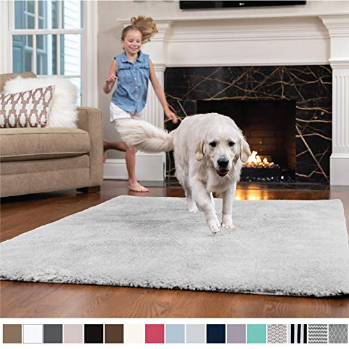 Shag Carpet - GORILLA GRIP Original Faux-Chinchilla Nursery Area Rug, (4' x 6') Super Soft & Cozy High Pile Machine Washable Carpet, Modern Rugs for Floor, Luxury Shag Carpets for Home Bed/Living Room (Light Gray)