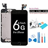 ibaye LCD Display Touch Screen Digitizer Glass Lens with Camera and Home Button Assembly Repair Replacement Compatible iPhone 6 (4.7) inch with Tools Black