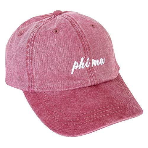 Phi Mu (N) Baseball Hat Cap Cursive Name Font Adjustable Leather Strap -