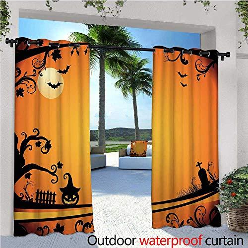 cobeDecor Vintage Halloween Fashions Drape Halloween Themed Image Eerie Atmosphere Gravestone Evil Pumpkin Moon Outdoor Curtain Waterproof Rustproof Grommet Drape W96 x L84 Orange -