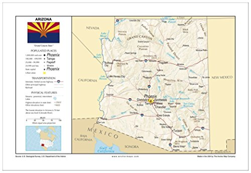 13x19 Arizona General Reference Wall Map - Anchor Maps USA Foundational Series - Cities, Roads, Physical Features, and Topography (Arizona Wall Map)