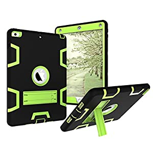 AOKER New iPad 2017 9.7 inch Case, Three Layer Heavy Duty Armor Defender Shockproof Full Body Protective Case with [Kickstand] Cover for Apple New iPad 9.7 inch (2017 Version) (Black green)