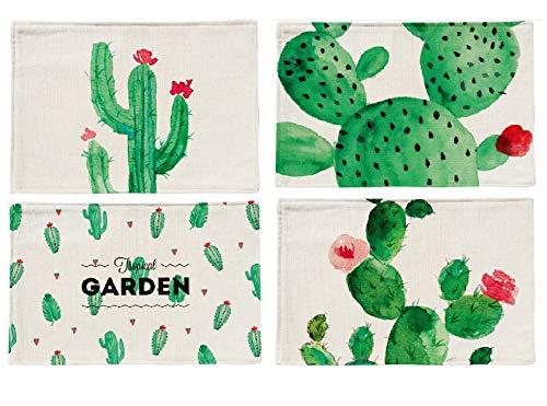 Placemat Ttopper Table Mat Washable Cactus Pattern Placemat Cotton Linen Table Mats Set of 4