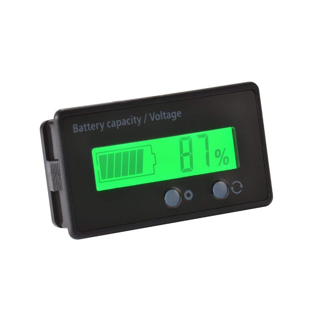 48V LCD Probador de Capacidad de Bater/ía de Litio y Bater/ía de Litio Medidor de Voltaje Monitor Luz de Fondo Verde para Bater/ía de Veh/ículo Cikuso Impermeable 12//24//36