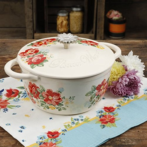 Floral Casserole Dish - The Pioneer Woman Timeless Beauty Vintage Floral 3-Quart Enameled Cast Iron Casserole w/Lid