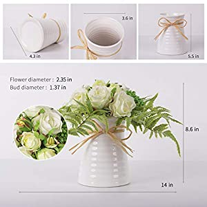 YUYAO Artificial Flowers Rose Bouquets with Vase Fake Modern Bridal Flower with Ceramic Vase for Wedding Home Table Office Party Patio Decoration (Champagne) 3