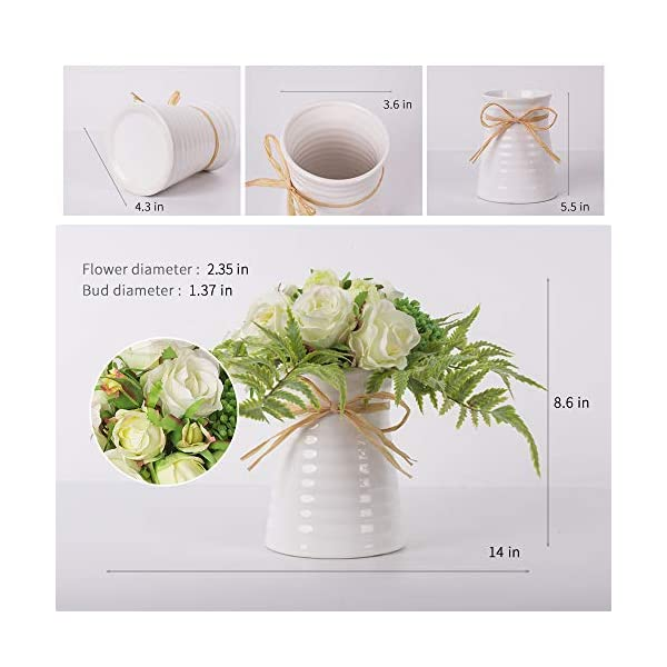 YUYAO-Artificial-Flowers-Rose-Bouquets-with-Vase-Fake-Silk-Flower-with-Ceramic-Vase-Modern-Bridal-Flowers-for-Wedding-Home-Table-Office-Party-Patio-Decoration