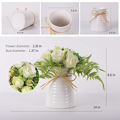 YUYAO-Artificial-Flowers-Rose-Bouquets-with-Vase-Fake-Modern-Bridal-Flower-with-Ceramic-Vase-for-Wedding-Home-Table-Office-Party-Patio-Decoration-Champagne