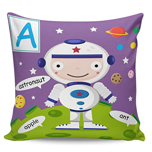 - OUR WINGS Astronaut with Letter A Throw Pillow Cover Decorative Cushion Pillowcase for Bed Sofa Couch Car 24