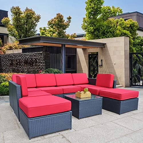 Mcombo Patio Furniture Sectional 9 Pieces Wicker Sofa Set All-Weather Outdoor Seating Black Rattan Conversation Chair Set