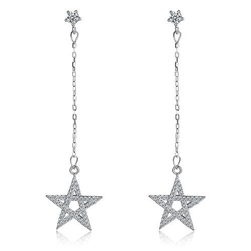 Hanie - Pendientes de plata de ley 925 para mujer, diseño de estrella de gota