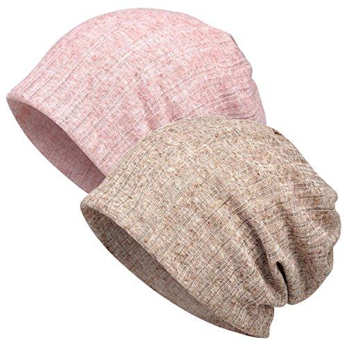 DancMolly Print Flower Head Cap Lightweight Hats Beanie Stretch Casual Turbans for Women (Plain-Pink+Khaki) (Head Skibrille)