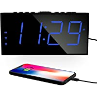 """Digital Alarm Clocks for Bedrooms, Dual Alarms, 7.5""""Large Display, Bedside Loud Clock with USB Charger, 5 Brightness, 4…"""