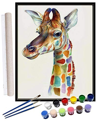 Giraffe Paint By numbers for Adults DIY Oil Painting Kits for Kids Teen Student Beginner On Canvas Painting Family Indoor Home Decor Wall Arts Crafts Colorful Giraffe Painting 16x20inch 4 Paintbrushes