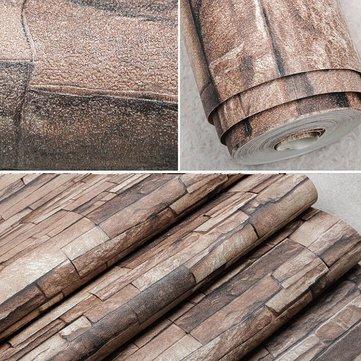 10M 3D Wallpaper Roll PVC Brick Grain Waterproof Natural Wood Pulp Dull Polish Wall Decor