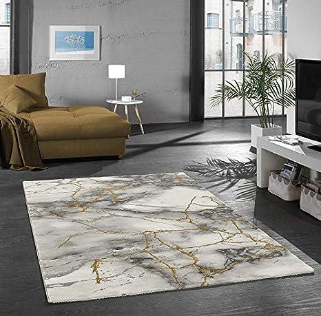 Merinos Teppich Wohnzimmer Design Teppich Marmor Optik Mit Glanzfasern In Grau Gold Grosse 160x230 Cm