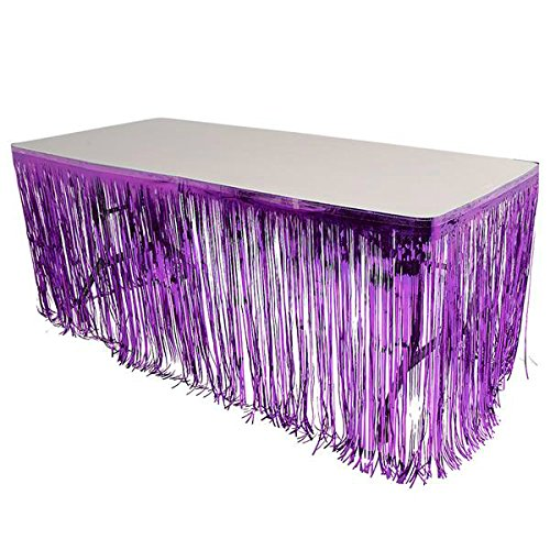 GIFTEXPRESS Set of 2, Purple Metallic Fringe Table Skirt/Purple Foil Fringe Table Skirt/Tinsel Table Skirt/Party Table Skirt/St Patrict Table Skirt