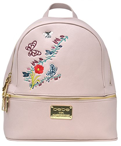 bebe Fleur Floral Embroidery Zipper Backpack