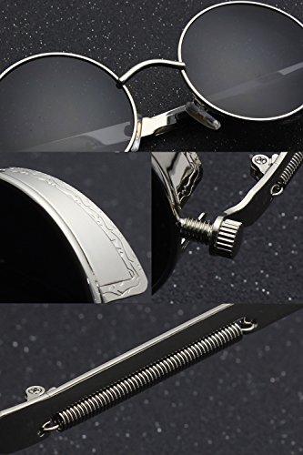 CGID E72 Retro Steampunk Style Inspired Round Metal Circle Polarized Sunglasses for Women Men 6