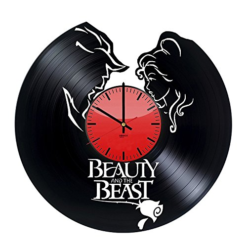 Beauty and The Beast Vinyl Record Wall Clock - Get unique living room or home decor - Gift ideas for girls and boys, sister – Fantasy Film Characters Unique Wall Art