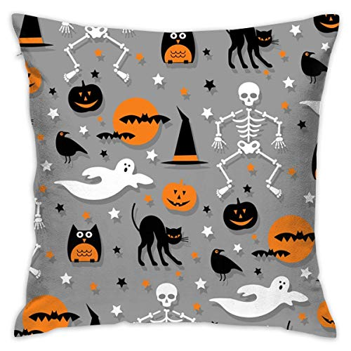 Anginry Halloween Party Funny Hipster Dancing Characters,Pillow Covers Decorative 18x18inches/45x45cm Pillowcase Cushion Covers with Zipper]()
