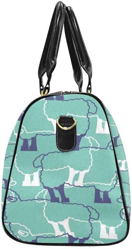 InterestPrint Waterproof Travel Bag Sports Duffel Tote Overnight Bag Sheeps