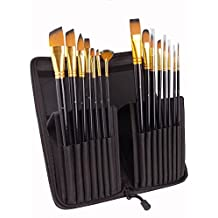 Artist Paint Brushes set 15pcs for Acrylic Oil Watercolor Gouache and Face Painting,Professional Artist Quality Paintbrushes, No-Shed Bristles,- for Artists Beginners and Kids.