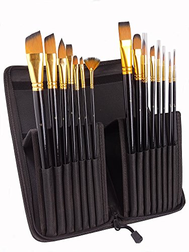 Artist Paint Brushes 15 pieces - for Acrylic Oil Watercolor Gouache and Face Painting - for Artists Beginners and Kids.
