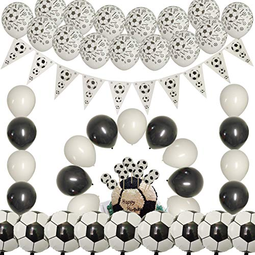 - JAYKIDS Soccer Theme Birthday Party Supplies Set for Boys - [101 PCS] Soccer Latex Balloons, Soccer Foil Balloons, Black & White Balloons, Triangle Soccer Banner, Soccer Cupcake Toppers, Sports Theme Party Decorations for Kids Boys Girls Ages 3 4 5+ Years Old