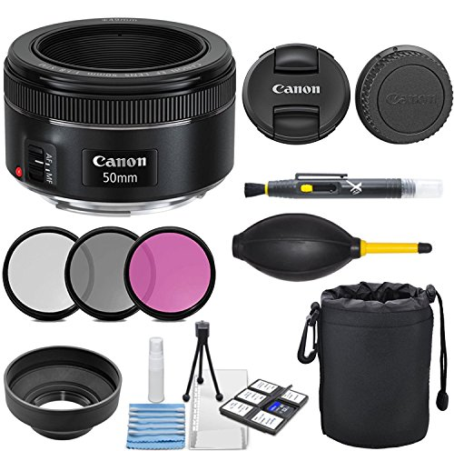 Canon EF 50mm f/1.8 STM Lens with 3pc Filter Kit (UV, CPL, FLD), Deluxe Lens Pouch, Lens Hood, Deluxe Cleaning Kit, Lens Accessory Bundle (Compact 35mm Slr Camera Bag)